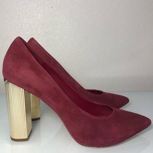 Michael Kors women's heels gold red suede size 8